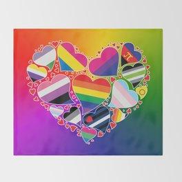 LGBTQA+ Community Pride Heart Throw Blanket