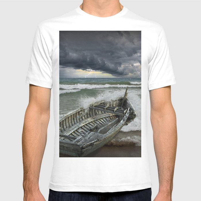 Shipwrecked Wooden Boat Amidst Crashing Waves T Shirt