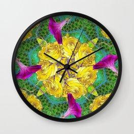 MYSTIC YELLOW ROSES MORNING GLORIES GREEN ART Wall Clock