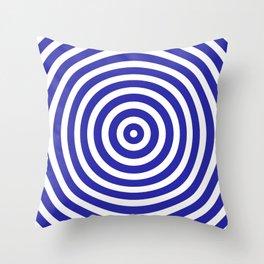 Circles (Navy Blue & White Pattern) Throw Pillow