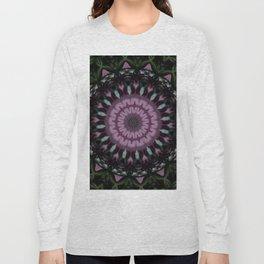 Rose And Jade Geometric Fantasy Mandala Pattern Long Sleeve T-shirt