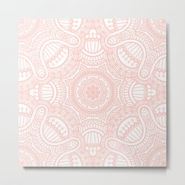 Rose Pink Ethnic Mandala Pattern Metal Print