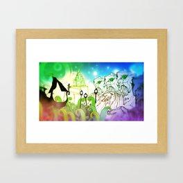 God Gamble Monster World Framed Art Print