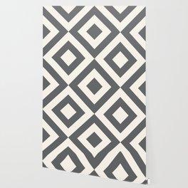 Geometric 70s — gray + cream Wallpaper
