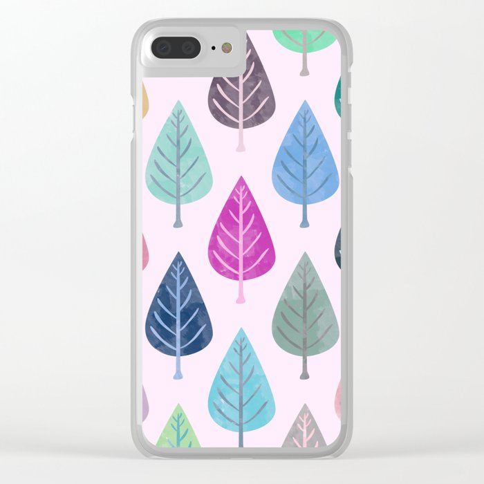 Watercolor Forest Pattern V Clear iPhone Case