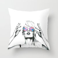 iggy azalea Throw Pillows featuring Iggy Azalea 2 by Tiffany Taimoorazy