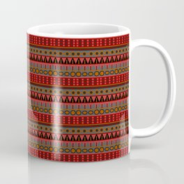 Aztec Tribal Motif Pattern in Red Mustard Salmon and Charcoal Coffee Mug