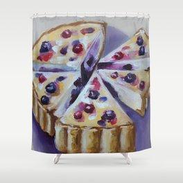 Desert, cake, food, original oil painting Shower Curtain