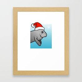 Manatee Christmas Shirt Framed Art Print
