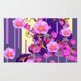 Modern Artwork Pink Wild Roses Purple Grey Design Rug