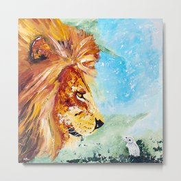 The Lion and the Rat - Animal - by LiliFlore Metal Print