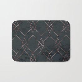 Modern Deco Rose Gold and Marble Geometric Dark Bath Mat