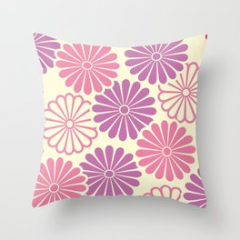 Sumi Print with Pink Daisys Throw Pillow