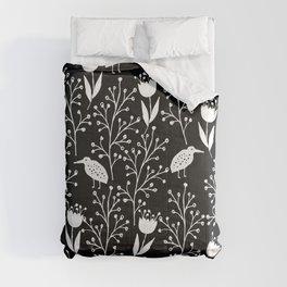 Kiwi Garden - Black and White Comforters