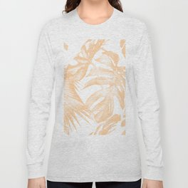 Island Vacation Hibiscus Palm Coral Long Sleeve T-shirt