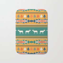 Ethnic Christmas pattern with deer Bath Mat