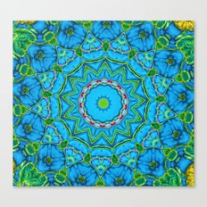 Lovely Healing Mandalas in Brilliant Colors: Blue, Green, Yellow, and Pink Canvas Print