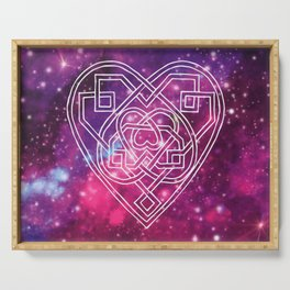 Pink Celtic Heart Galaxy Serving Tray