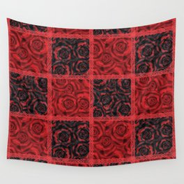 Patchwork . Roses are red. Wall Tapestry