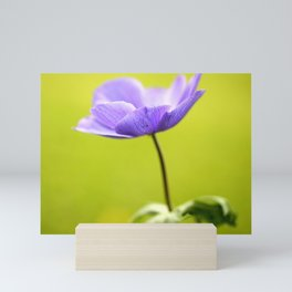 Purple Anemone Natural Green Background Mini Art Print