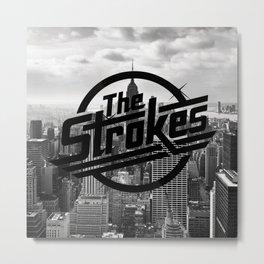 The Strokes Logo New York Black And White Metal Print