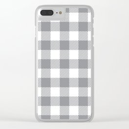 Buffalo Plaid - Grey & White Clear iPhone Case