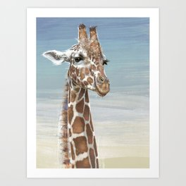 Giraffe Against A Blue Sky Art Print