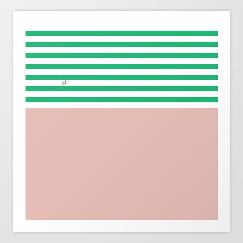 Green Stripes Nude Summer Minimal Art Design Kirovair Buyart Decor Home Kunstdrucke Von Irikirova Society6