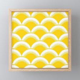 Japanese Fan Pattern Yellow Framed Mini Art Print