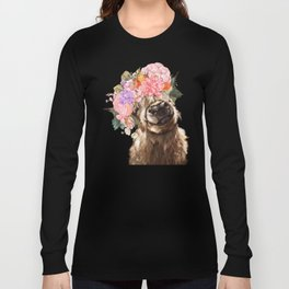 Highland Cow with Flower Crown Long Sleeve T-shirt
