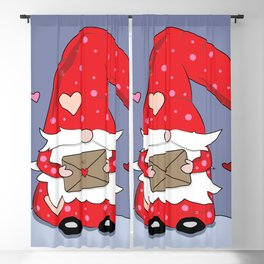 Cute Red Gnome with Love Letter Blackout Curtain