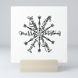 Calligraphy letters merry christmas snowflake Mini Art Print