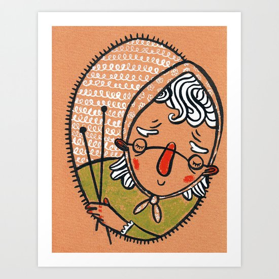 The old land woman... Art Print