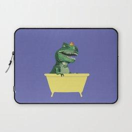 Playful T-Rex in Bathtub in Purple Laptop Sleeve