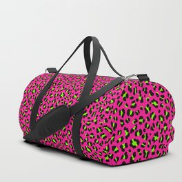 80s Neon Pink and Lime Green Leopard Duffle Bag
