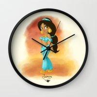 jasmine Wall Clocks featuring Jasmine by Khatii