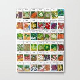 Veggie Seeds Pattern Metal Print