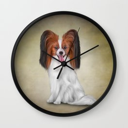 Drawing Papillon dog  Wall Clock