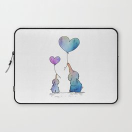 Colorful Watercolor Elephants Love Laptop Sleeve