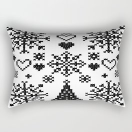 Christmas Cross Stitch Embroidery Sampler Black And White Rectangular Pillow