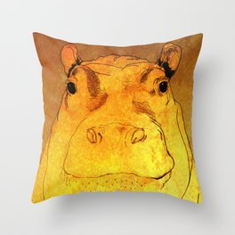 Golden Hippo Throw Pillow