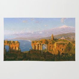 William Stanley Haseltine - Ruins Of The Roman Theatre At Taormina  Sicily Rug