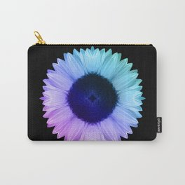 Iridescent Geometric Sunflower Decor \\ Symmetrical Flowers Pink Purple Blue Nature Bohemian Style Carry-All Pouch