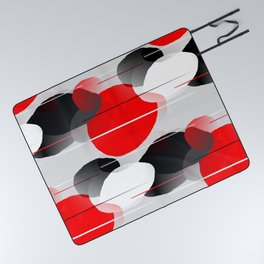 Modern Anxiety Abstract - Red, Black, Gray Picnic Blanket