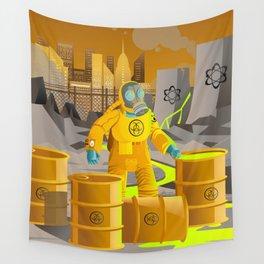 biohazard suit man with barrels near nuclear meltdown in powerplant Wall Tapestry