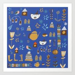 hygge cat and bird blue Art Print