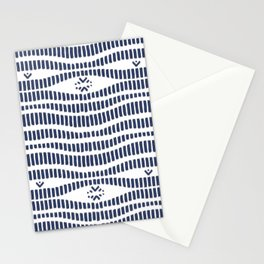 Indigo Pattern - Indigo / Navy & White Stationery Cards
