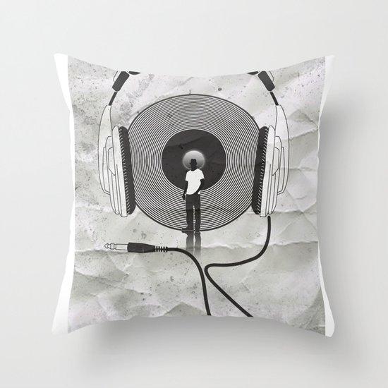 vinyl afro Throw Pillow