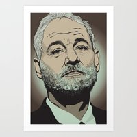 bill murray Art Prints featuring Bill Murray  by Jordan McLaughlin