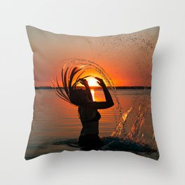 Water and sunset in the backlight Throw Pillow